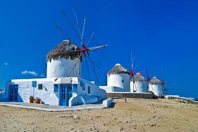 Windmills of Sunny Mykonos (Greece, Cyclades)-Maugli-l-Photographic Print