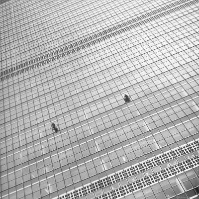 Window Cleaners Cleaning Windows High Up on the United Nations Building-Andreas Feininger-Photographic Print