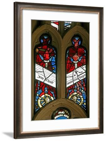 Window EW Depicting Angels on Wheels with Antiphons--Framed Giclee Print