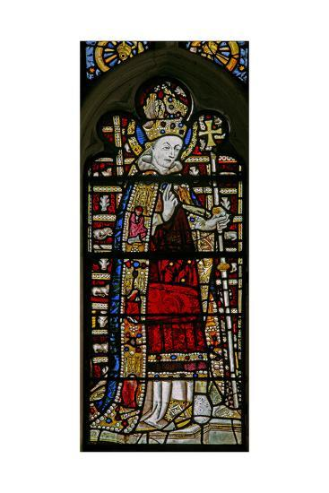 """Window Ew Depicting St Thomas Becket with """"Jewels"""" of Inset Glass--Giclee Print"""
