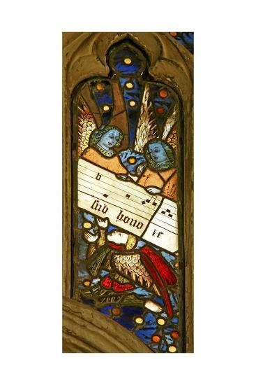 Window N2 Depicting the Angelic Choir with Musical Score--Giclee Print