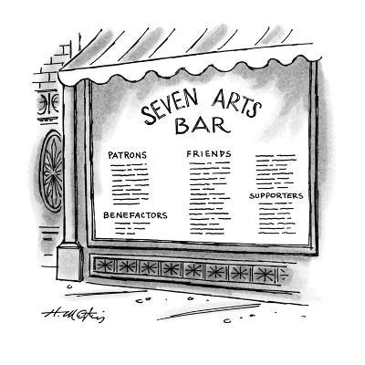Window of the 'Seven Arts Bar' that lists patrons, benefactors, friends, a? - New Yorker Cartoon-Henry Martin-Premium Giclee Print