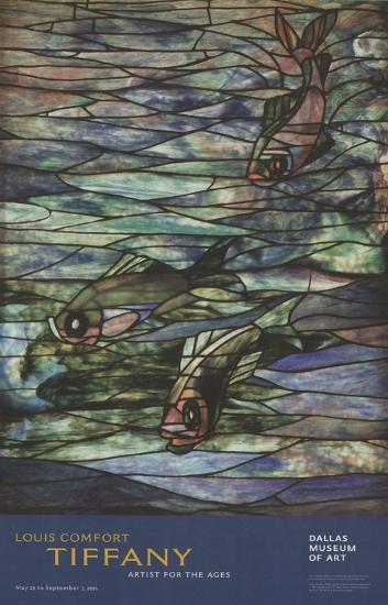Window Panel with Swimming Fish-Louis Comfort Tiffany-Art Print