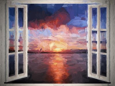 Window Sundown Sea Painting-Grab My Art-Art Print