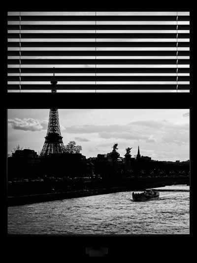 Window View - Color Sunset in Paris with the Eiffel Tower and the Seine River - France - Europe-Philippe Hugonnard-Photographic Print