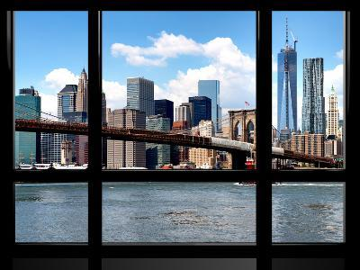 Window View, Manhattan with One World Trade Center (1WTC) and the Brooklyn Bridge, New York-Philippe Hugonnard-Photographic Print
