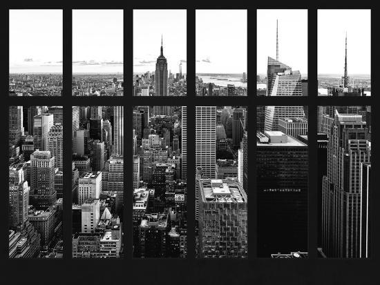 Window View - Skyline of Manhattan with the Empire State Building - Times Square - NYC-Philippe Hugonnard-Photographic Print