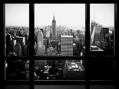 Window View, Skyscrapers and Empire State Building Views, Midtown Manhattan, Hudson River, New York-Philippe Hugonnard-Photographic Print