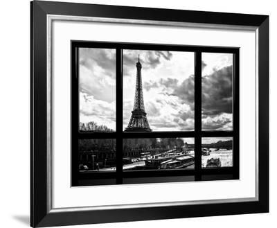 Window View, Special Series, Eiffel Tower and the Seine River, Paris, Black and White Photography-Philippe Hugonnard-Framed Photographic Print