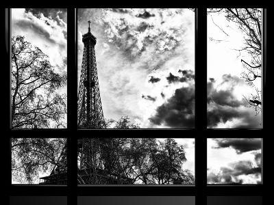 Window View, Special Series, Eiffel Tower View, Paris, France, Europe, Black and White Photography-Philippe Hugonnard-Photographic Print