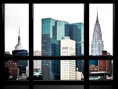 Window View, Special Series, Empire State Building and Chrysler Building Tops, Manhattan, New York-Philippe Hugonnard-Photographic Print