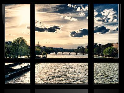 Window View, Special Series, Landscape View on Seine River and Eiffel Tower, Paris, France, Europe-Philippe Hugonnard-Photographic Print