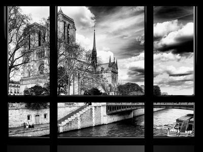 Window View, Special Series, Notre Dame Cathedral, Seine River, Paris, Black and White Photography-Philippe Hugonnard-Photographic Print