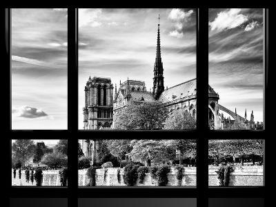 Window View, Special Series, Notre Dame Cathedral View, Paris, Europe, Black and White Photography-Philippe Hugonnard-Photographic Print
