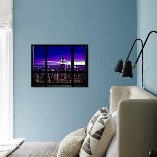 Window View Special Series Skyline Manhattan Purple Night New York United States Usa Photographic Print Philippe Hugonnard Art Com