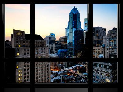 Window View, Special Series, Skyscrapers View at Nightfall, Philadelphia, Pennsylvania, USA-Philippe Hugonnard-Photographic Print
