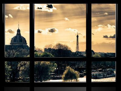 Window View, Special Series, the Eiffel Tower and Seine River View at Sunset, Paris, Europe-Philippe Hugonnard-Photographic Print