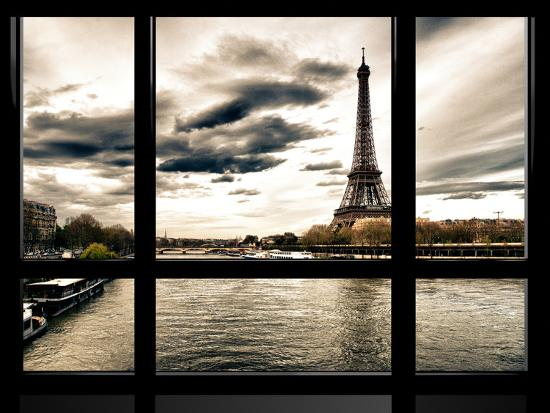 Window View, Special Series, the Eiffel Tower and Seine River Views, Paris, France, Europe-Philippe Hugonnard-Photographic Print