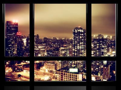 Window View, Urban Landscape by Night, Misty View, New Yorker Hotel View, Midtown Manhattan, NYC-Philippe Hugonnard-Photographic Print