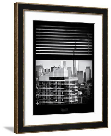 Window View with Venetian Blinds: Cityscape Manhattan with One World Trade Center (1 WTC)-Philippe Hugonnard-Framed Photographic Print