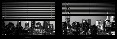 Window View with Venetian Blinds: Manhattan Skyline by Night with the Empire State Building-Philippe Hugonnard-Photographic Print