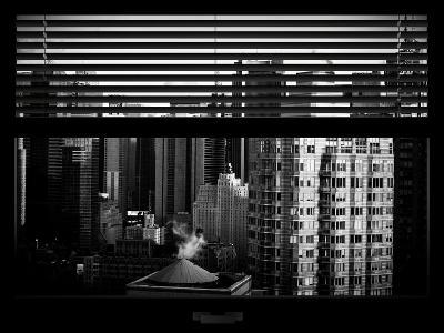 Window View with Venetian Blinds: Skyline of Times Square-Philippe Hugonnard-Photographic Print