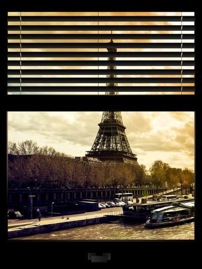 Window View with Venetian Blinds: the Eiffel Tower and Seine River Views at Sunset - Paris, France-Philippe Hugonnard-Photographic Print