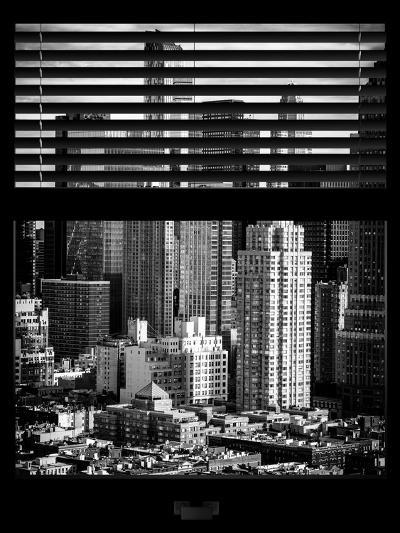 Window View with Venetian Blinds: Theater District and Times Square - Manhattan-Philippe Hugonnard-Photographic Print