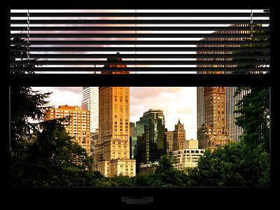 Window View with Venetian Blinds: View of Buildings along Central Park at Sunset-Philippe Hugonnard-Photographic Print