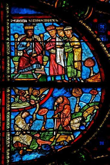 Window W0 Depicting the Annunciation to Shepherds; the Magi with Herod--Giclee Print