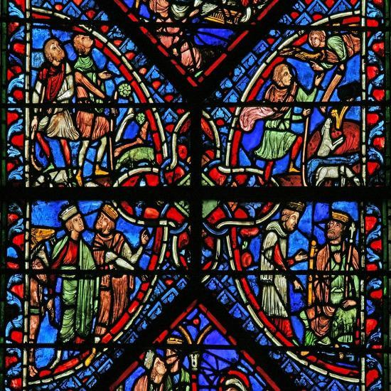 Window W2 Depicting the Magi with Herod, Annunciation to the Shepherds--Giclee Print