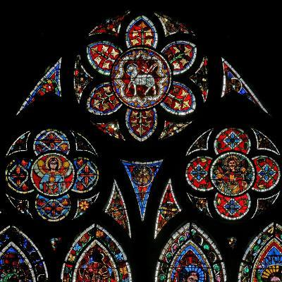 Window W202 Depicting the Tracery Lights with Two Angels and the Agnus Dei--Giclee Print