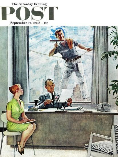 """""""Window Washer"""" Saturday Evening Post Cover, September 17,1960-Norman Rockwell-Giclee Print"""