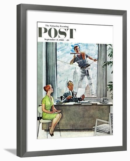 """""""Window Washer"""" Saturday Evening Post Cover, September 17,1960-Norman Rockwell-Framed Giclee Print"""