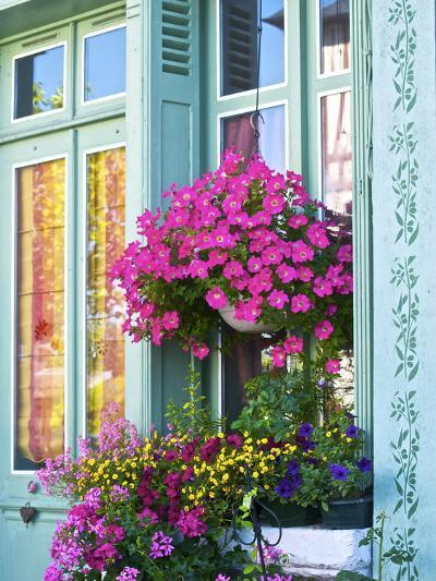 Window With Flowers, France, Europe-Guy Thouvenin-Photographic Print