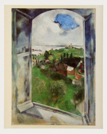 Window with View on the Island Bréhat, c.1924-Marc Chagall-Art Print