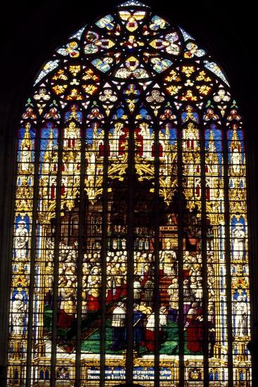 Windows from St Rumbold's Cathedral, Mechelen, Detail, Belgium--Giclee Print