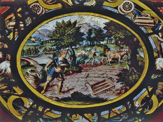 Windows of Montigny Church, Depicting an Allegory of October and Scene of Agricultural Work--Giclee Print