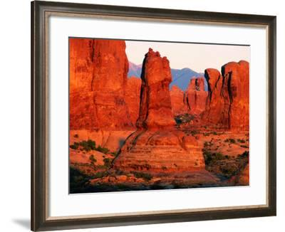 Windows Section at Sunset, Arches National Park, Utah-David Tomlinson-Framed Photographic Print