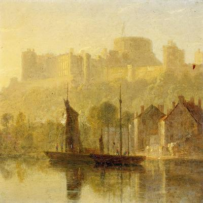 Windsor Castle from the Thames (Oil on Millboard)-William Daniell-Giclee Print