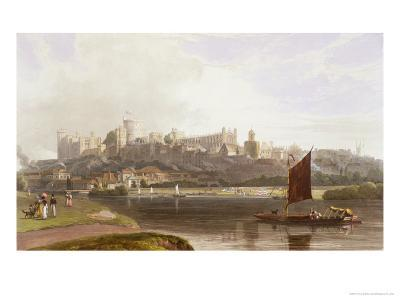 Windsor Castle, River Meadow on Thames, from Views of Windsor, Eton and Virginia Water, c.1827-30-Thomas & William Daniell-Giclee Print