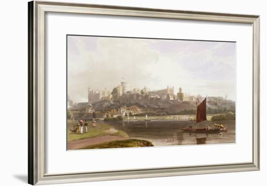 Windsor Castle, River Meadow on Thames, from Views of Windsor, Eton and Virginia Water, c.1827-30-Thomas & William Daniell-Framed Giclee Print