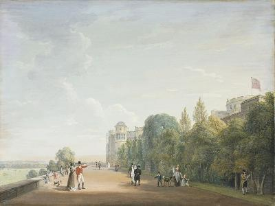 Windsor Castle: the North Terrace Looking East, with Elegant Figures, 1803-Paul Sandby-Giclee Print