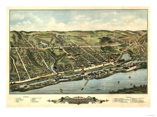Windsor Locks, Connecticut - Panoramic Map-Lantern Press-Art Print