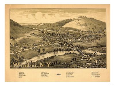 Windsor, New York - Panoramic Map-Lantern Press-Art Print
