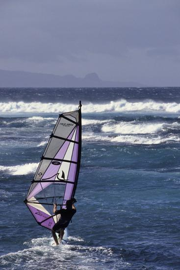 Windsurfing on the Ocean at Sunset, Maui, Hawaii, USA-Gerry Reynolds-Photographic Print