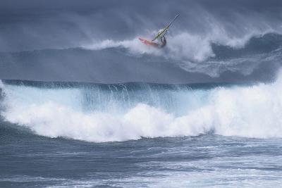 Windsurfing on the Ocean at Sunset, Maui, Hawaii, USA-Gerry Reynolds-Photographic Print