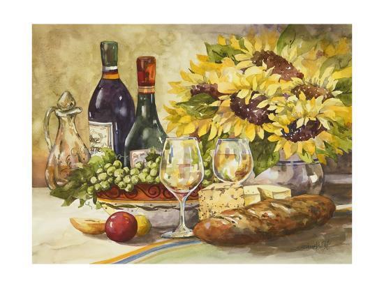 Wine and Sunflowers-Jerianne Van Dijk-Art Print