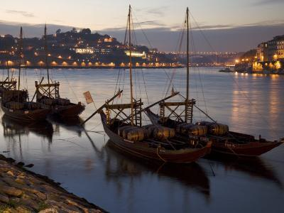 Wine Barrels on Boats in Oporto at Dusk-Michael Melford-Photographic Print