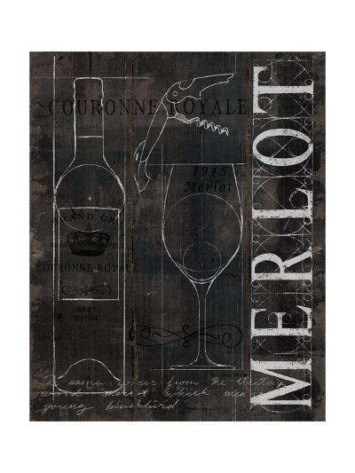 Wine Blueprint II v2 Charcoal Distressed-Marco Fabiano-Art Print